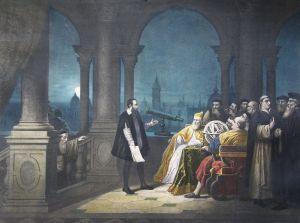 Galielo mostrando el telescopio